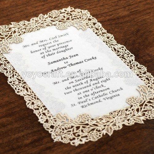 50pcs Popular laser cut menu card, table card, thank you card, lace wedding invitation card with insert and envelop