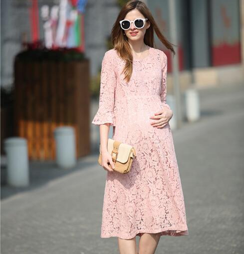 13b8bc2a2 De Encaje de color rosa vestido de Embarazada Vestido de Primavera Verano  2016 Nueva Moda Ropa Para El Embarazo Las Mujeres Embarazadas de Maternidad  Suelta ...