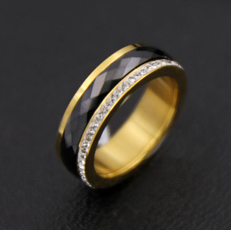 Fashion Stainless Steel Plated Gold Ring Cut Lozenge Veins Black Ceramic Ring Full Pave Rhinestone Jewelry For Men Women