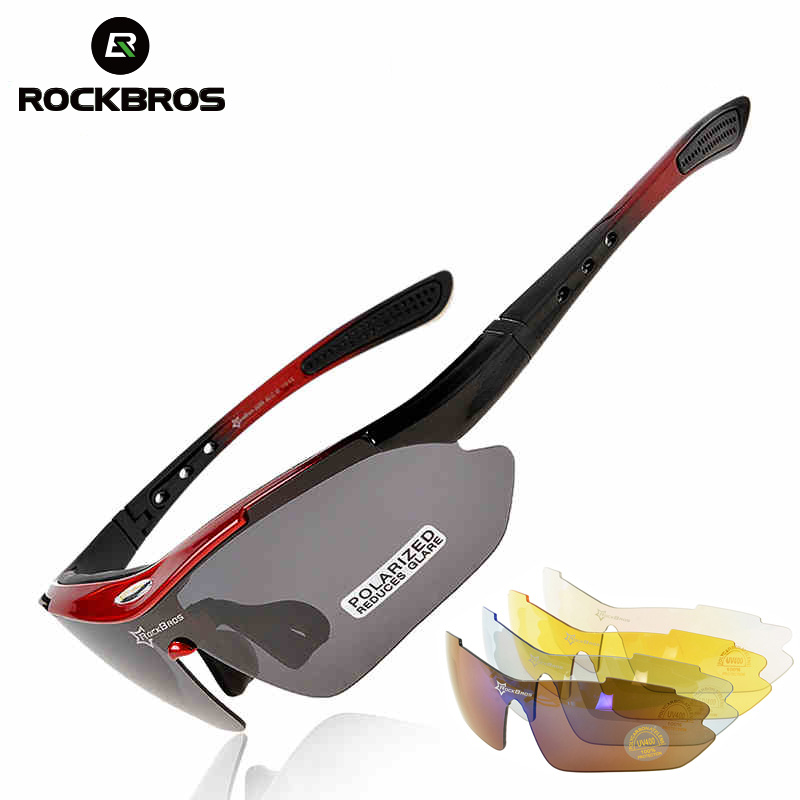 Prix pour Rockbros polarisées sport hommes lunettes de soleil route vélo lunettes de vélo de montagne vélo équitation lunettes de protection lunettes 5 lentille