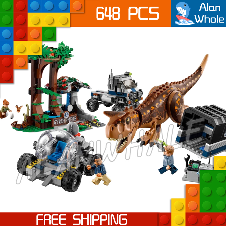 648Pcs Jurassic World Carnotaurus Gyrosphere Escape Velociraptor Figure Building Blocks Dinosaur Toys  Compatible With LegoING-in Blocks from Toys & Hobbies