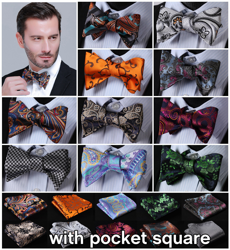 Ftoral 100%Silk Jacquard Woven Men Butterfly Self Bow Tie BowTie Pocket Square Handkerchief Hanky Suit Set #B5