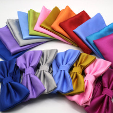 hot deal buy luxury 2 pcs mens solid color pocket square bows tie set adjustable handkerchief bowtie sets wedding party plaid check hanky lot