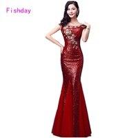 Floor Length Red Blue Mermaid Sequin Elegant Floral Ladies Cheap Long Evening Dresses Plus Size