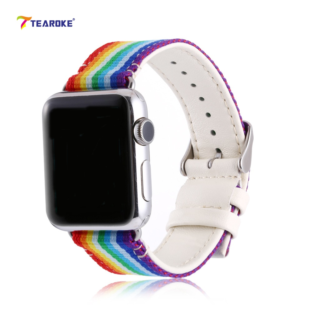 Rainbow Pattern Leather Lining Watchband for Apple Watch 38mm 42mm Striped Nylon Cover Replacement Band Strap for iwatch 1 2 3