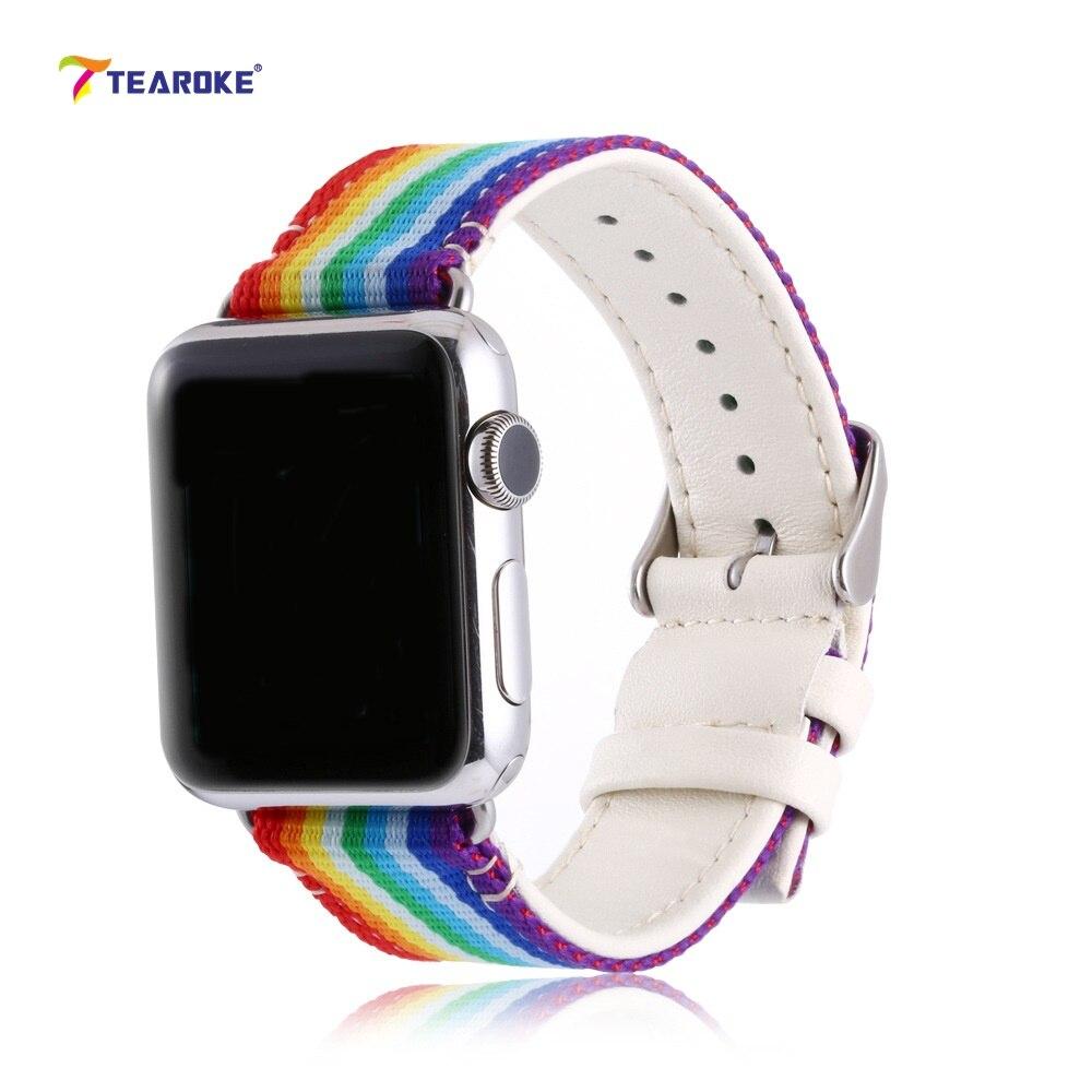 TEAROKE Arc-En-Rayé Nylon Bracelet En Cuir Pour Apple Montre 38mm 42mm Coloré Montre de Courroie De Bande pour iwatch 1 2 Avec adaptateurs