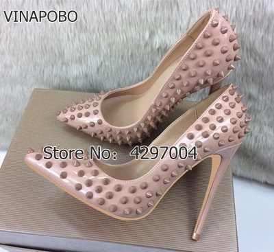 Vinapobo Nude Pointed Toe Thin High Heels Sexy Rivets Spike Women Party Shoes Classical Fashion Studs