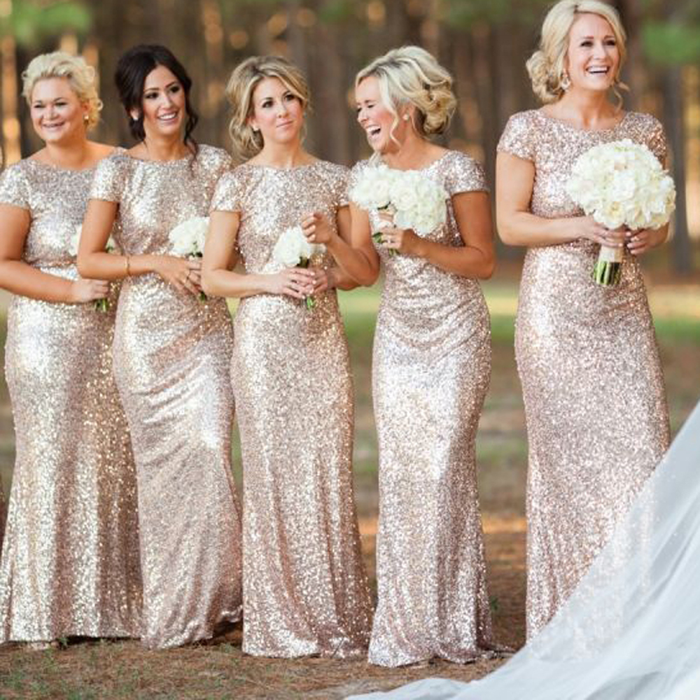 Online get cheap gold sparkly bridesmaids dresses aliexpress cheap champagne gold sparkly bridesmaid dresses 2016 short sleeves maid of honor dresses for weddings vestidos ombrellifo Choice Image