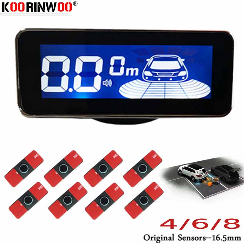 Otomobiller ve Motosikletler'ten Park Sensörleri'de Koorinwoo Ultrasonik LCD Ekran Araba park sensörü 4/6/8 Radarlar ön Arka Buzzer Ters Parktronik Alarm Dedektörü gümüş Siyah