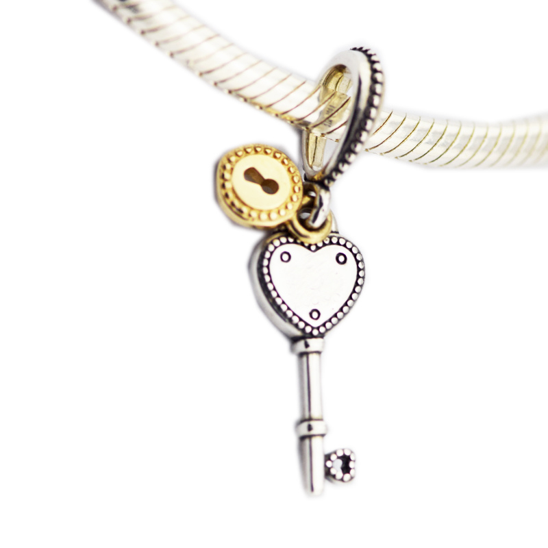 Jewelry & Accessories Beads Authentic 925 Sterling Silver Bead Key To My Heart Dangle Charm Fit Original Women Pandora Bracelet Bangle Gift Diy Jewelry
