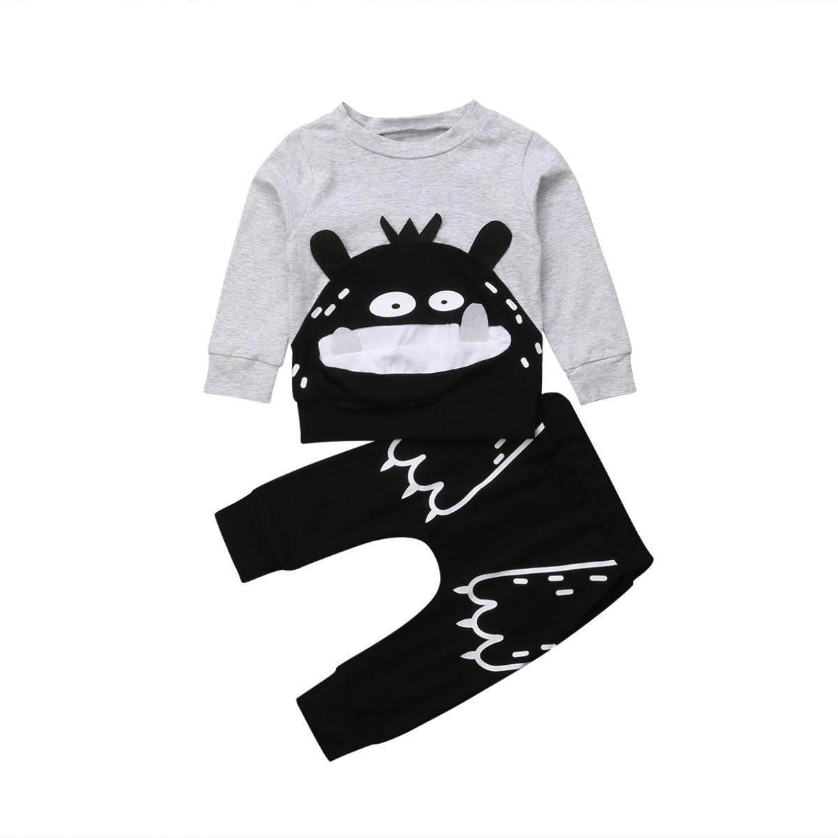 Cartoon Monster Clothes Set Toddler Baby Girl Outfit Long Sleeve Tops Sweatshirt Coat Pants 2019