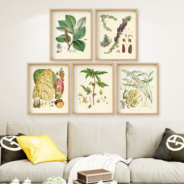 US $6 34 12% OFF|Green plants set of 5 Vintage Botanical illustrations  floral art prints HD printing Flower Wall Art prints only unframed -in  Painting