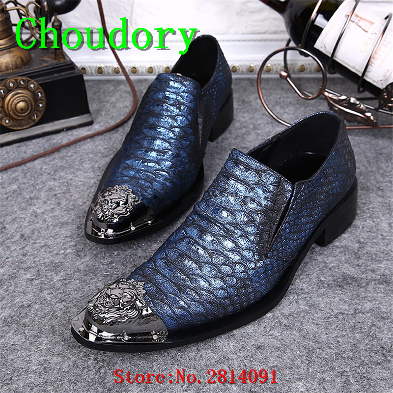 Choudory Flats Breathable Fluorescent Light Steel Toe Work Shoes Men Solid Patent Leather Pointed Toe Wedding Men Dress Shoes