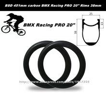 BSD 451mm carbon BMX Racing PRO 20inch Rims 38mm deep, 25mm wide carbon Kids' Bike wheels Folding bike rims factory sale