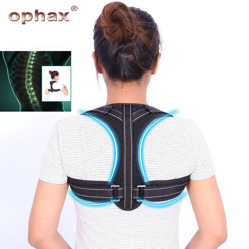OPHAX ajustable volver Corrector de postura hombro soporte columna apoyo  transpirable corrección jorobadas cinturón corsé niños adultos en Apoyos ... 37310a5755db