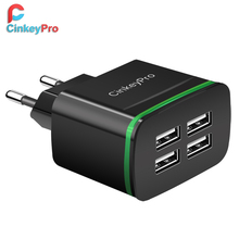 CinkeyPro 4 Ports USB Charger for iPhone iPad Samung LED Light EU Plug 5V 4A Wall Adapter Mobile Phone Universal Charging