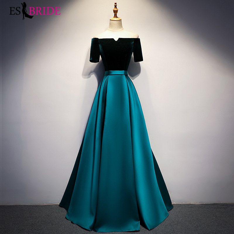 Fashion Boat-neck Formal   Dress   Women Elegant Sexy   Evening     Dress   2019   Evening     Dresses   A-line Special Occasion   Dresses   ES2519
