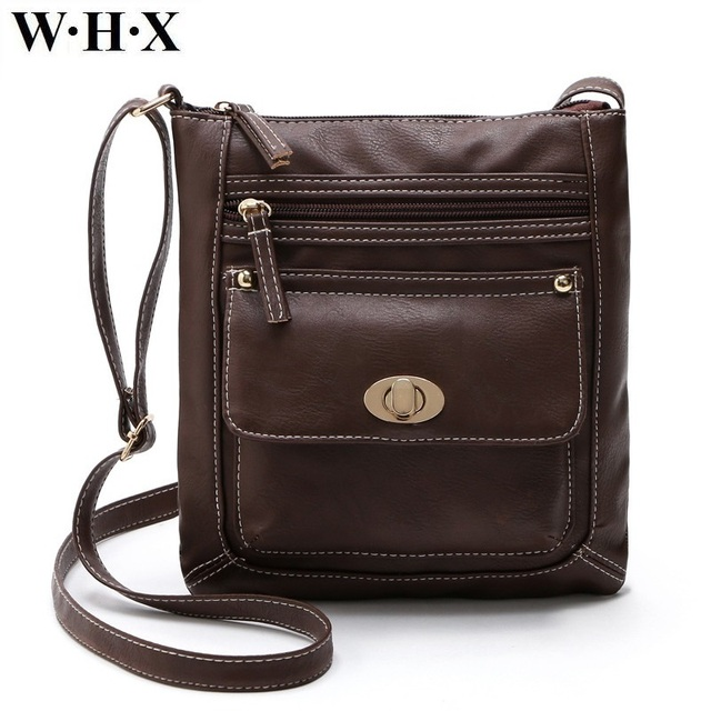 Whx Pu Leather Handbag Women Chocolate Dark Brown Bag For Female Messenger Crossbody Bags