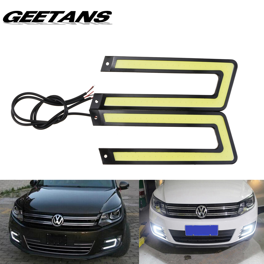GEETANS 2pcs White COB Led Daytime Running Light DRL Headlight Fog Lamp DC12V Car Light Source U Shape BE