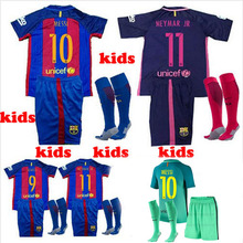 kids kit 2017 Top quality football jerseys Qualit kids Short sleeve Messis jersey + socks 16 17 red purple 3RD green shirt