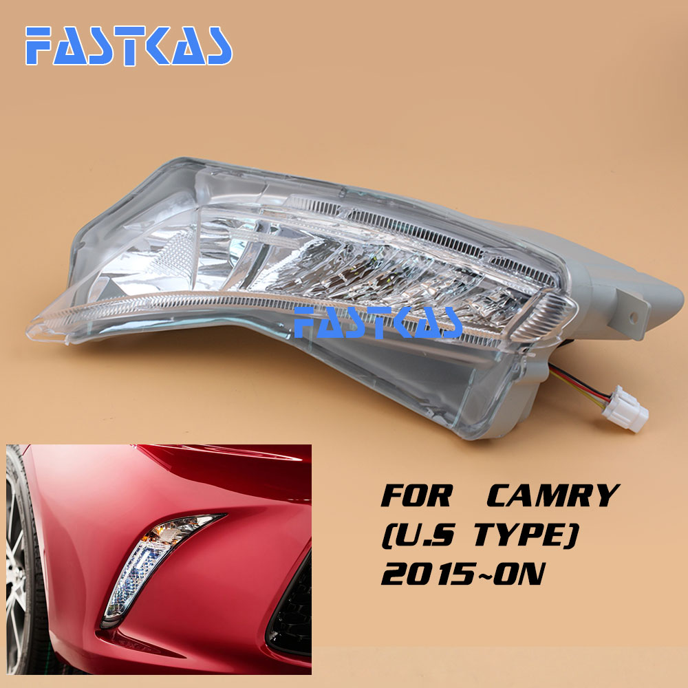 12v Car Fog Light Assembly for Toyota Camry (U.S Type) 2015-on Front Left and Right Fog Light Lamp with Harness Relay Fog Light 12v 55w car fog light assembly for ford focus hatchback 2009 2010 2011 front fog light lamp with harness relay fog light