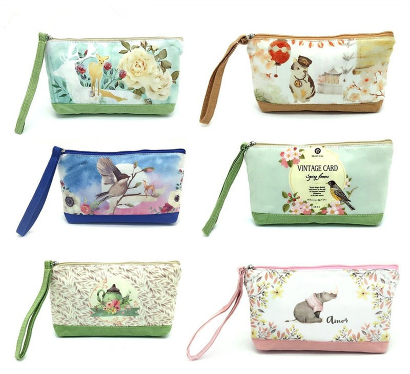 2018 Cute Cartoon Women Purse Mini Bag Clutch Coin Purse Pocket Small Canvas Storage Bags Coin Wallet Female Zipper Pouch H63