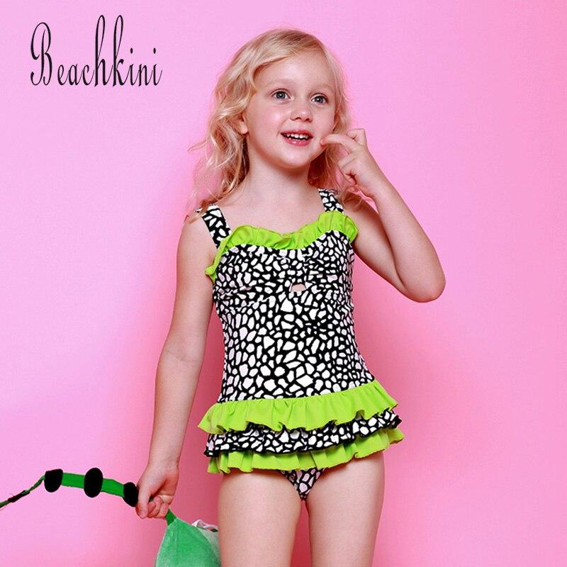 e3cc855e0ef Crack Pattern One Piece Swimsuit Girl Lace-Trim Patchwork Swimwear Wide  Straps Bathing Suit Quick Dry Kid Beach Wear Skirt