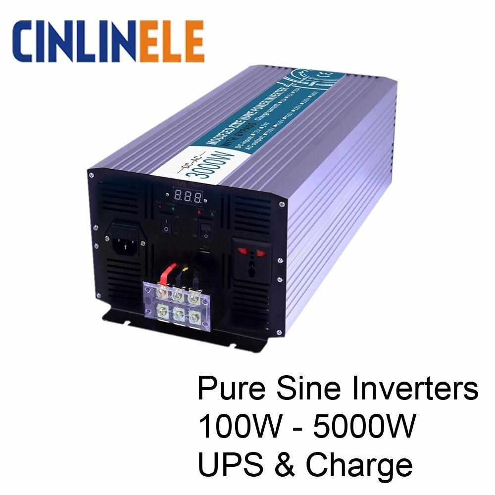 Smart Charging Pure Sine Wave Inverters DC 12V 24V To AC 110V 220V 1000W 5000W 1500W
