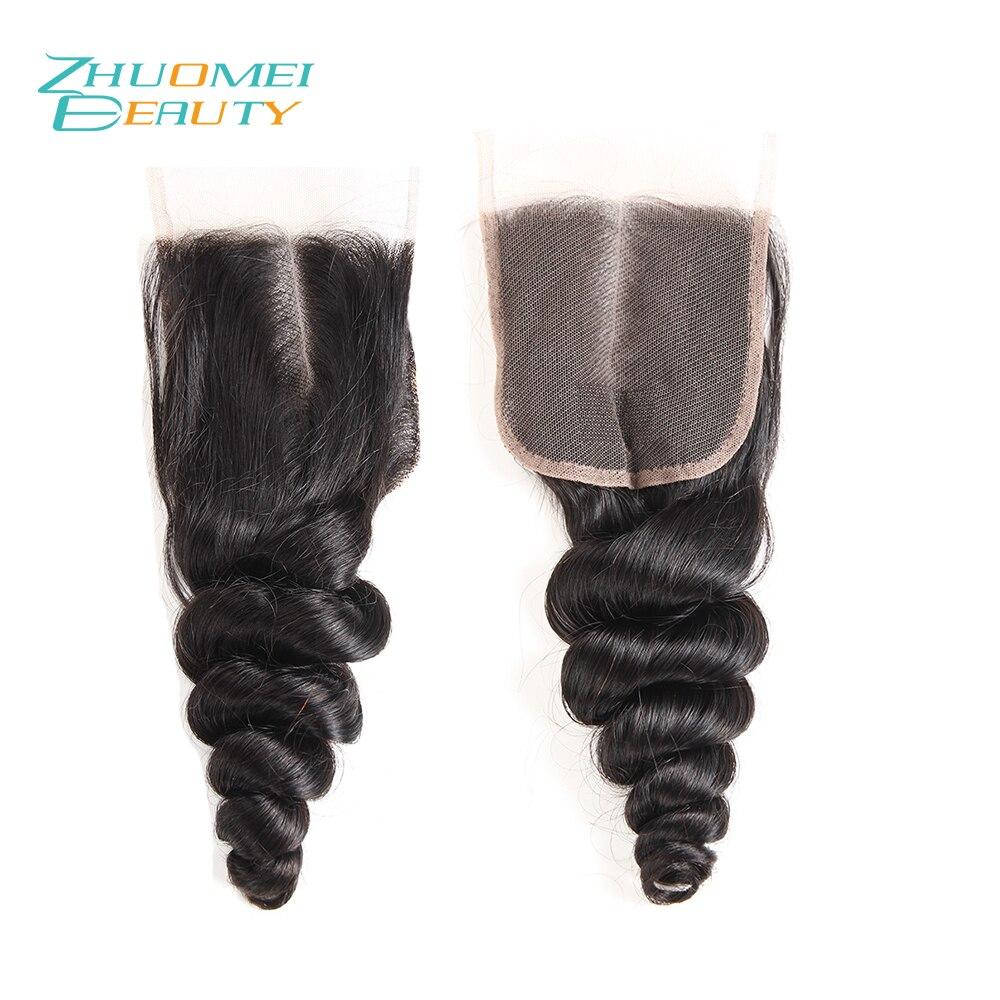 Zhuomei Красоты Реми пучки волос с закрытием свободная волна Связки 4 шт. с закрытием кружева Natural Цвет человеческих волос ткань
