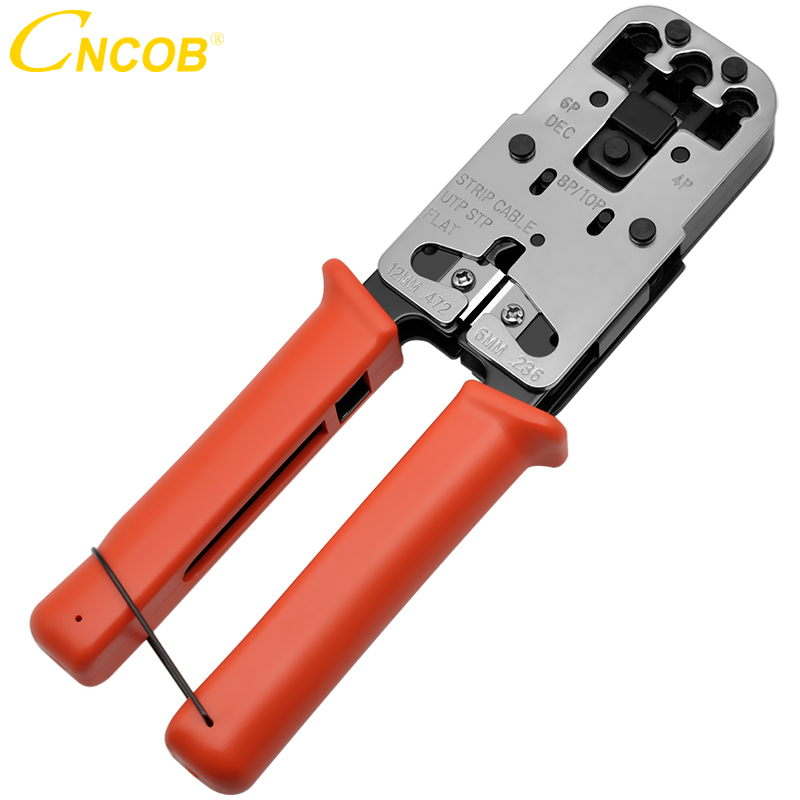 CNCOB Câble Sertisseur, 3 dans Modulaire Outil de Sertissage Pour les écrans crt, bandes, et sertissages 8P8C/RJ-45, 6P6C/RJ12, 6P4C/RJ-11, 4P4C 4P2C et en un seul outil