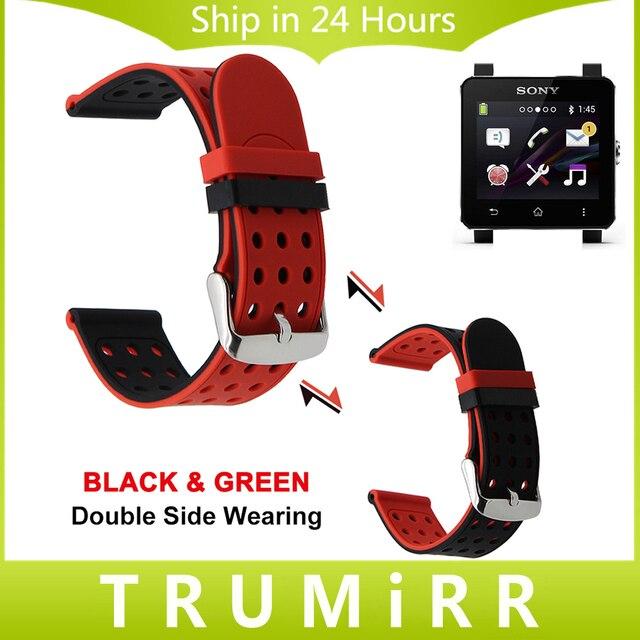 24mm correa de caucho de silicona correa doble cara vistiendo para sony Smartwatch 2 SW2 Venda de Reloj de Pulsera Pulsera de La Correa Negro Azul rojo