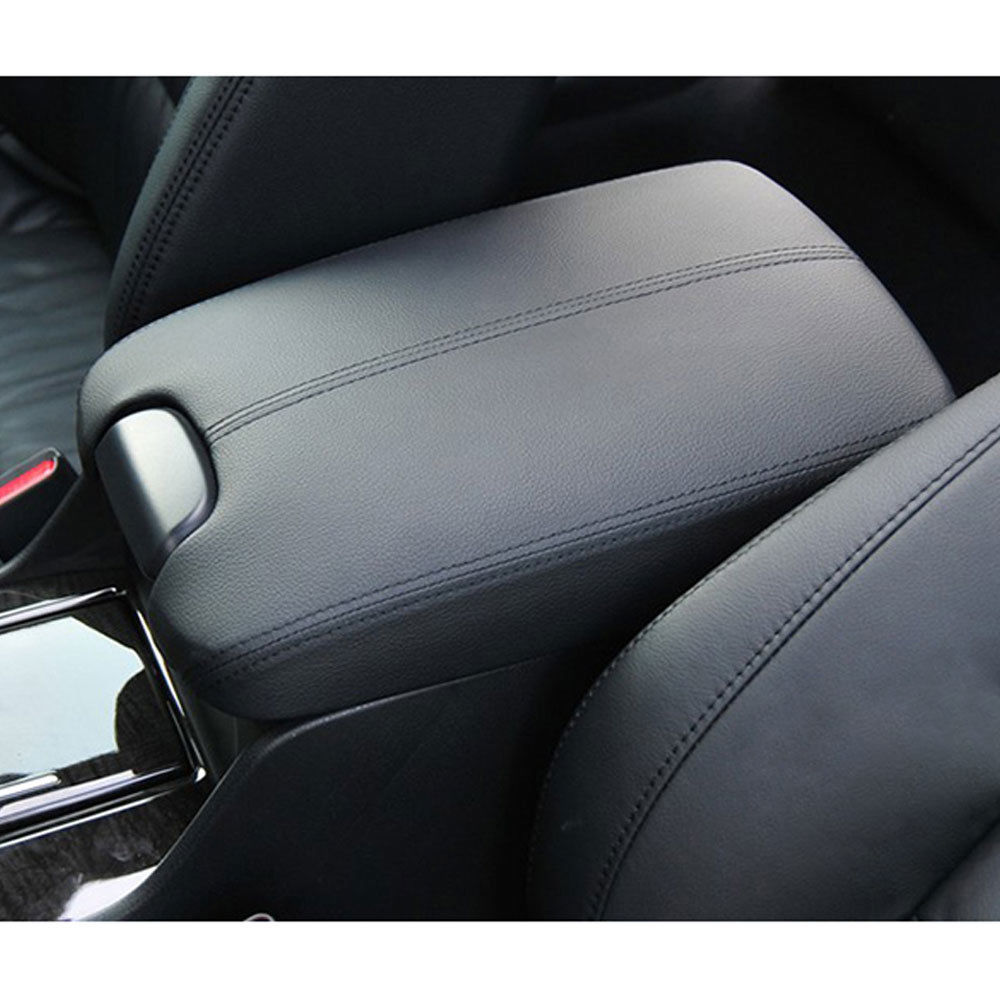 Ezzy Auto Black Leather Suture Console Armrest Lid Cover for 2008 2009 2010 2011 2012 Honda Accord Center Console Cover Lid