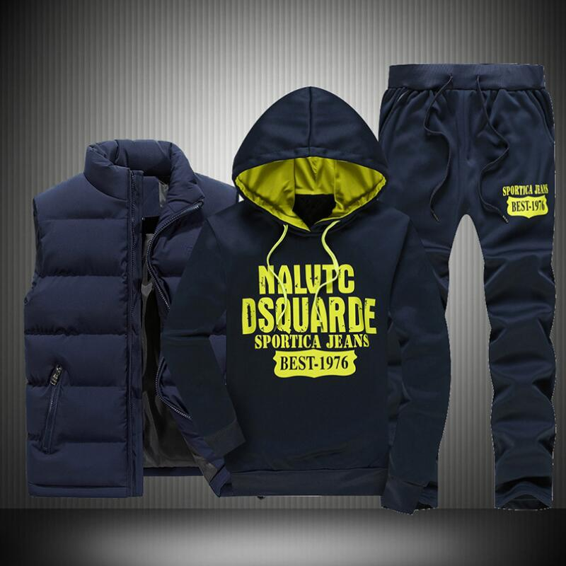 2020 FashionTracksuit Men's Hoodie Men Casual Active Suit Zipper Outwear Jacket+Pants Sets+Warm Down Vest Jacket Three Piece Set
