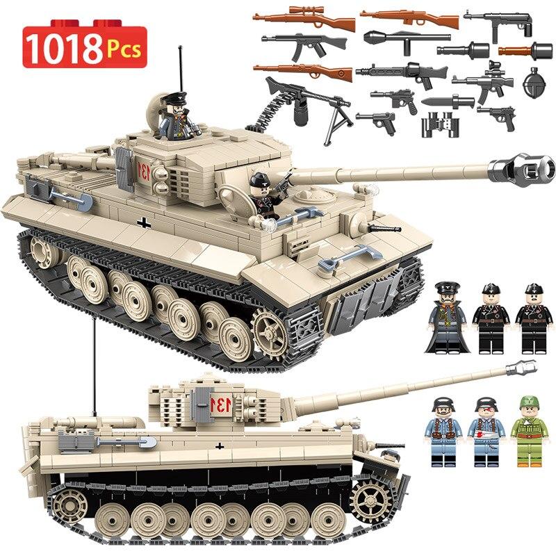 1018 pièces WW2 Ville Jedi Réservoir Tigre 131 blocs de construction Compatible Avec Légèreté Militaire Réservoir Briques Combattant Armes Jouets Pour garçons