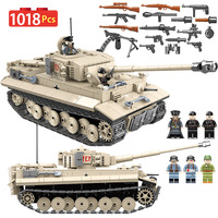 1018PCS WW2 City Jedi Tank Tiger 131 Building Blocks Compatible Legoingly Military Tank Bricks Fighter Weapons Toys For Boys