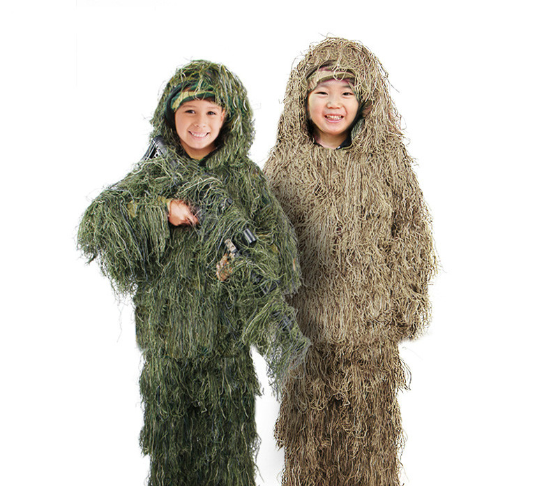 Unisex Children Bionic 3D Camouflage Ghillie Suit Kids Jungle Desert Sniper Tactical Camo Suit Hunting Clothes Hunting Ghillie Suits     - title=