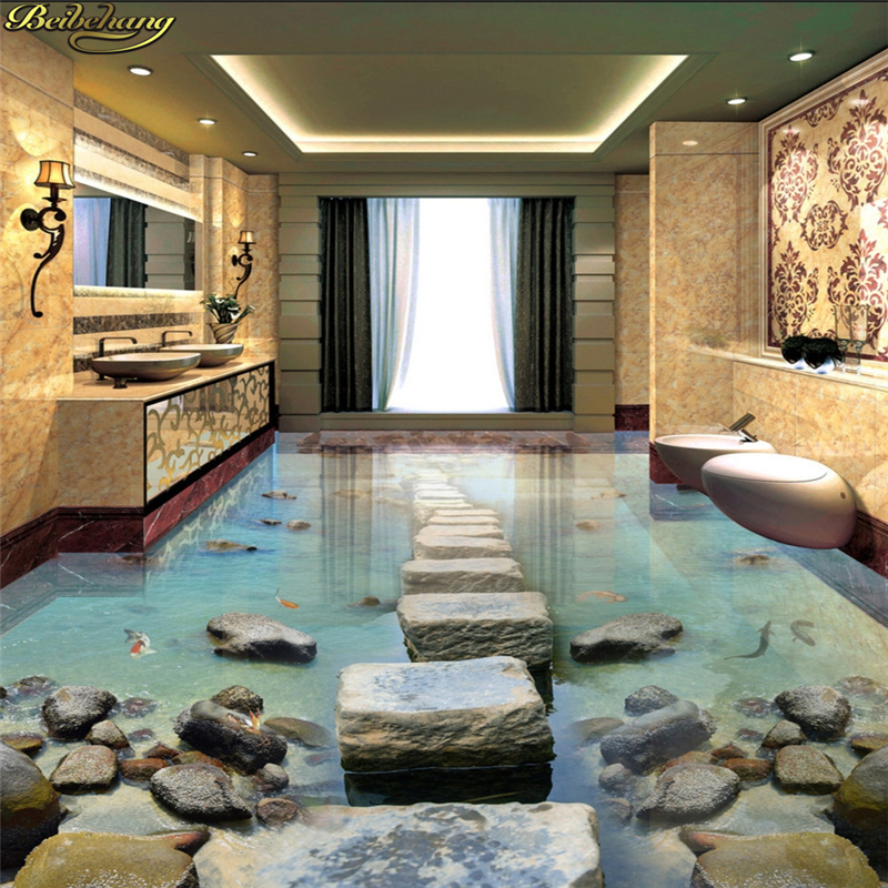 beibehang Custom photo wallpaper floor painting floor affixed to the beach stone pier bridge 3D stereo floor painting beibehang custom photo floor wallpaper