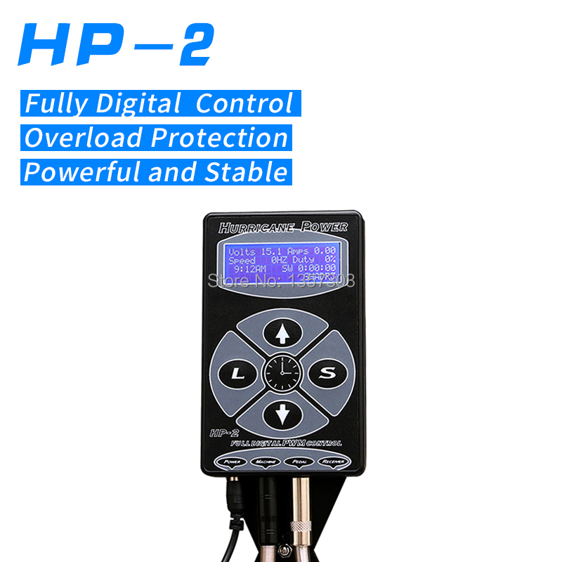 Newest Professional Black HP-2 Hurricane Tattoo Power Supply Digital Dual LCD Display Tattoo Power Supply Machines Free Shipping