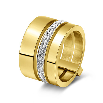 Multilayer Split Shank Steel Women's Band Ring Jewelry Rings Women Jewelry Ring Size: 9 Main Stone Color: gold color
