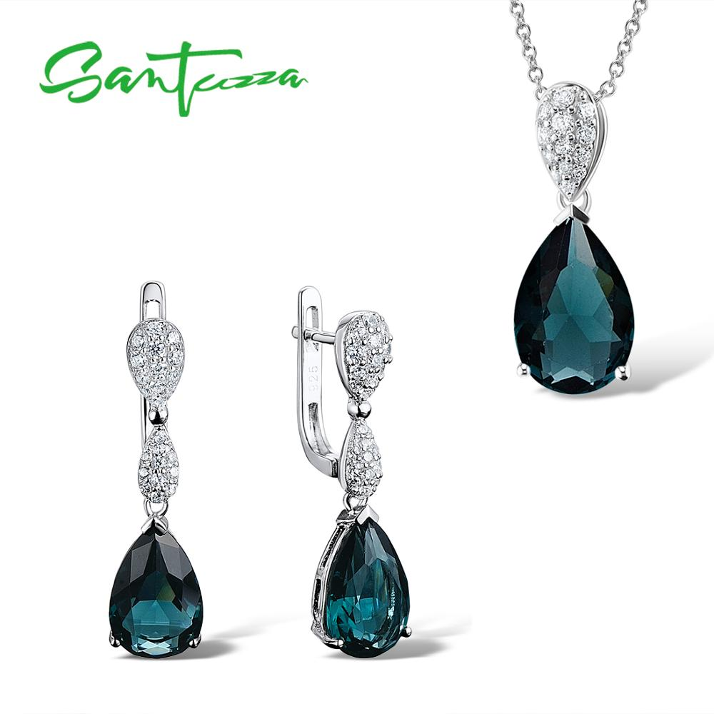 SANTUZZA Silver Jewelry Set For Women 925 Sterling Silver Magic Green Crystal Drop Earrings Pendant Set Trendy Fashion Jewelry