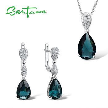 5ffc1425601f SANTUZZA conjunto de joyas de plata para mujer Plata de Ley 925 magia verde  pendientes de cristal colgante de moda joyería de moda