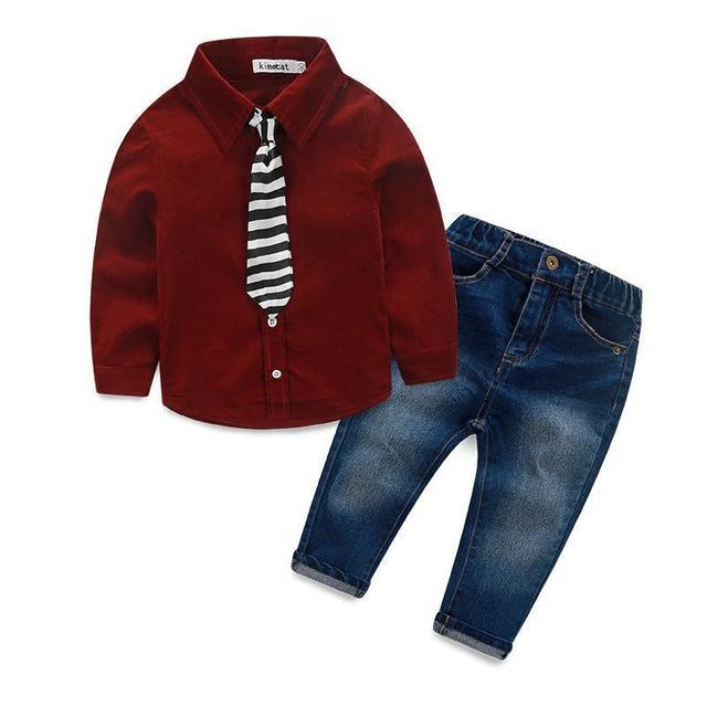 Moda ropa de los niños fijó otoño primavera niños bebés traje de mezclilla niño conjunto de algodón de manga larga dress + camisetas + pantalones vaqueros + tie