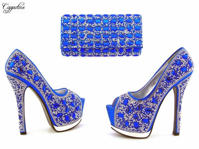 Pour Brillantes Bleu Royal Haut Et Mode Avec Argent 057 Sac Or 1F3TKJlc