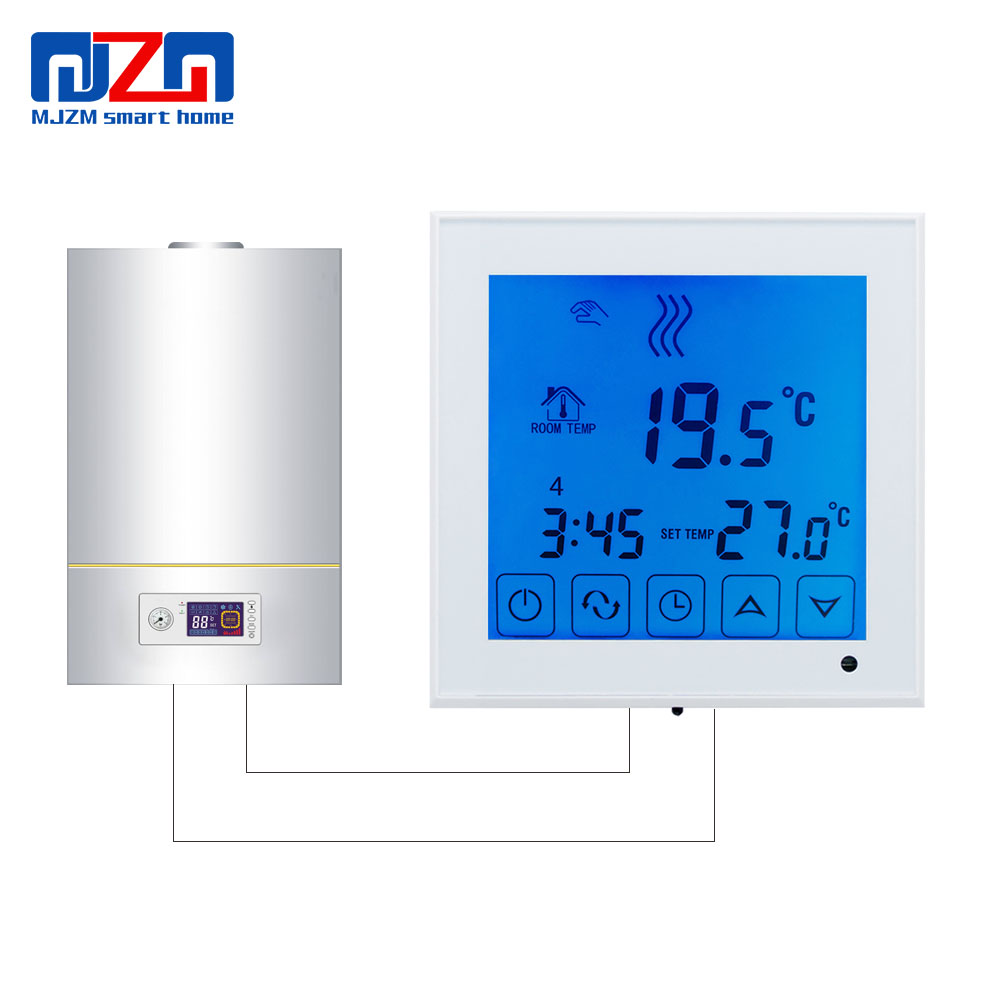 MJZM BGL03-1 AA Batteries Powered Room Thermostat For Gas Boiler Heating Temperature Controller Touch Screen Wall Mounted