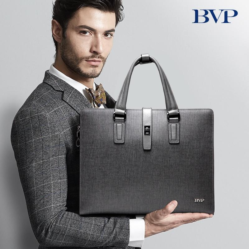 BVP high-end classics branded genuine leather cowhide men's business laptop briefcase tote attache messenger document bagT1012