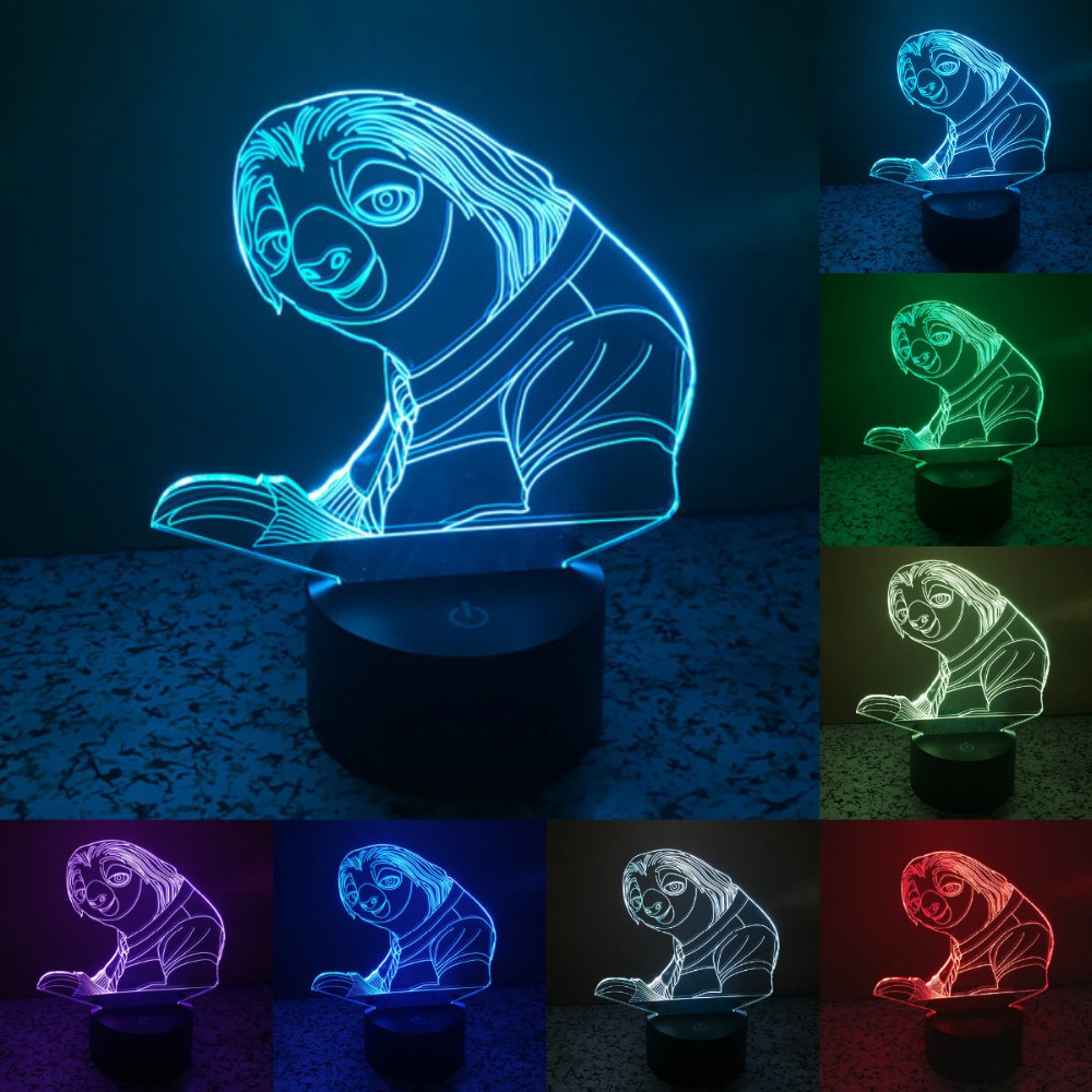 crazy animal City 7 colors changing 3D Touch Bulbing Light Sloth illusion USB LED lamp creative <font><b>action</b></font> figure as gift IY803433