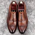 Italian Mens Shoes Brands Shoe Lasts Longwing Brogue Carved Bridegroom Soft Leather Lawyer Oxford Tan High-end Cowhide