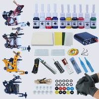 Professional Complete Tattoo Kit Tattoo Machine 4pcs Liner Shader Tattoo Gun 10 Color Immortal Tattoo Ink Set Power Box Grip Tip
