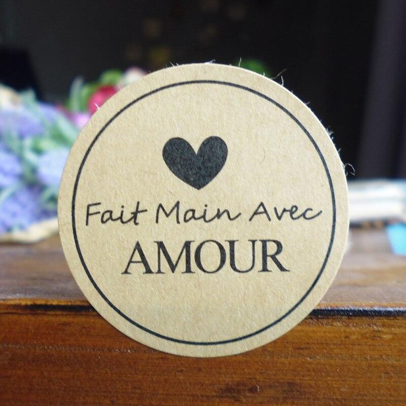 102 pièces Fait main Avec Amour sceau autocollants français à la main papeterie autocollant étiquette pour bricolage à la main cadeau autocollant Dia.3.8cm