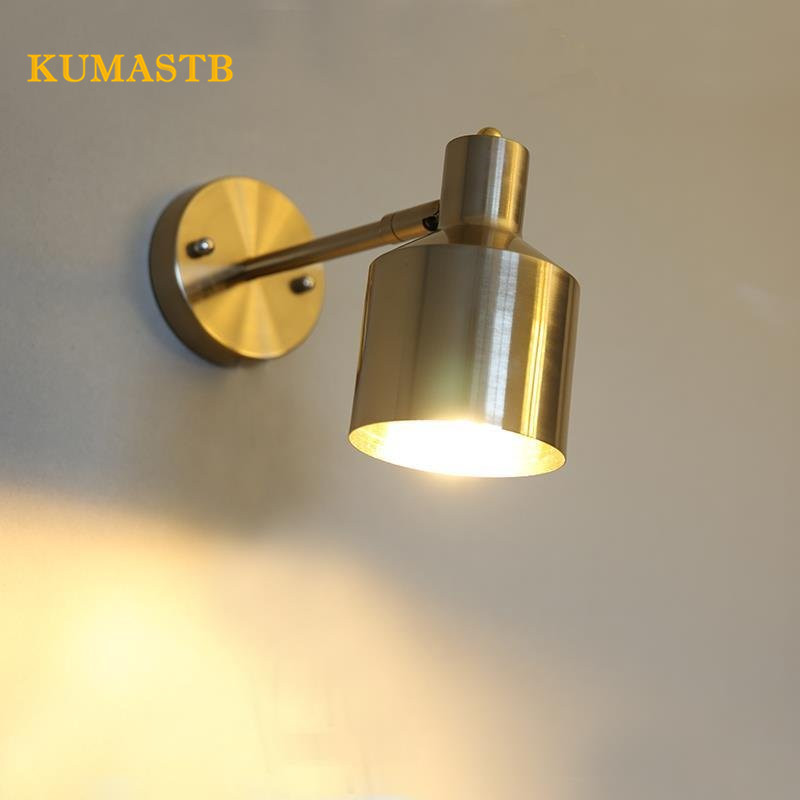 Nordic Brass Wall Lamp Modern Creative Bathroom Mirror Light Living Room Wandlamp American Aisle Bedroom Lamp modern american country retro mirror front wall light creative bedside bedroom living room study long arm wall lamp